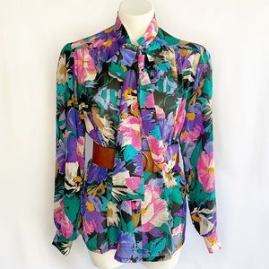 Vintage Floral Secretary Tie Long Sleeve Blouse